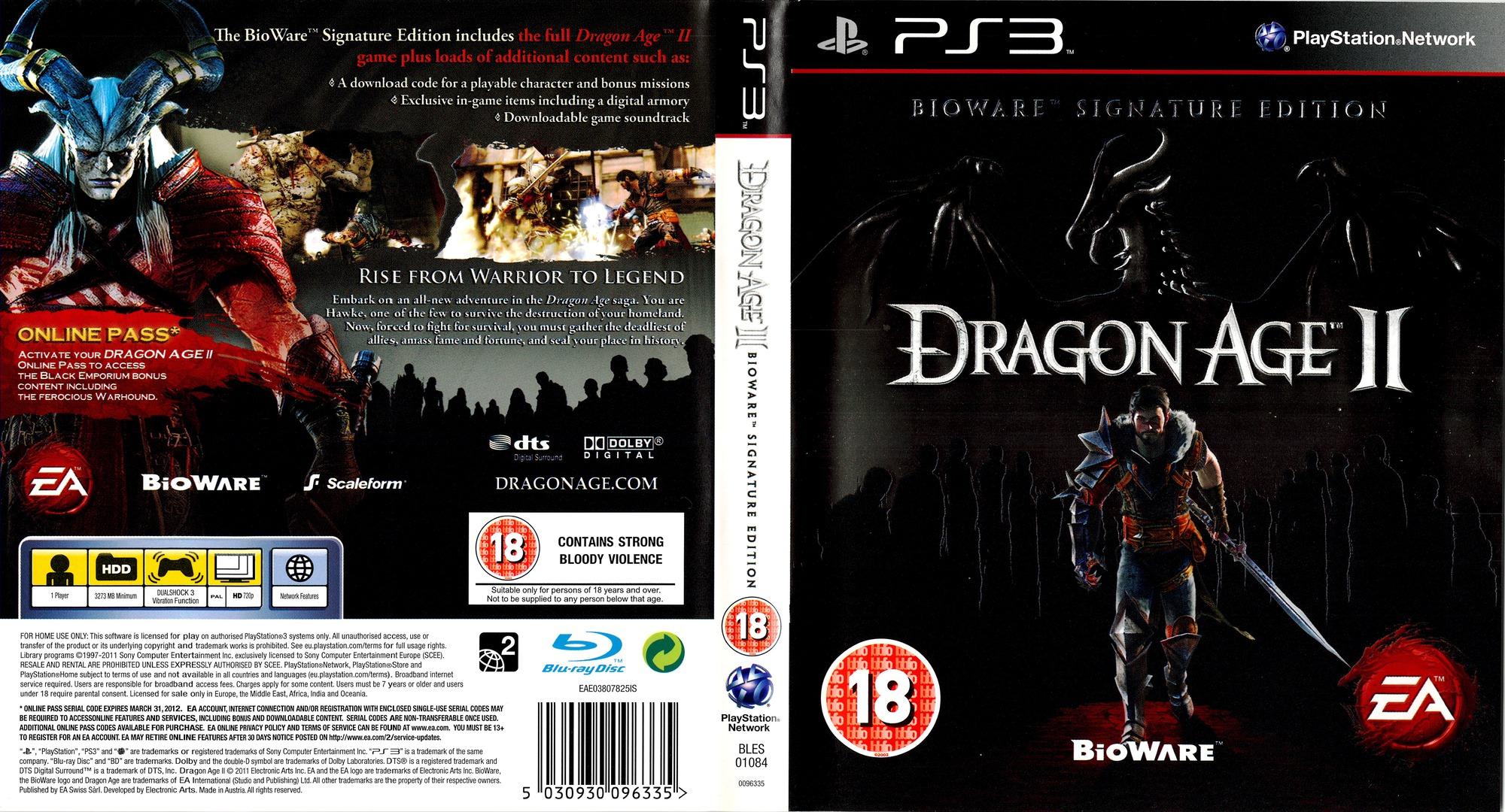 Dragon Age II (Bioware Signature Edition) PS3 coverfullHQ (BLES01084)