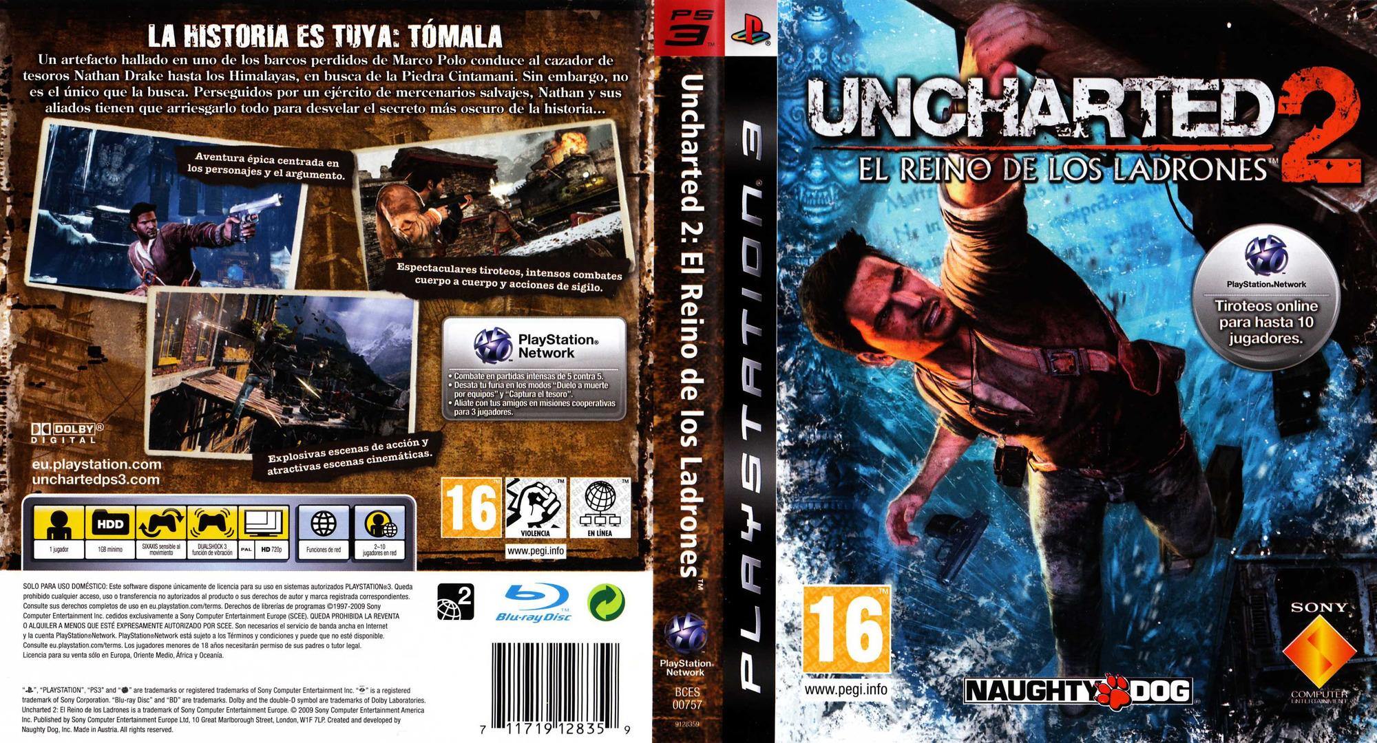Uncharted 2: El Reino de los Ladrones PS3 coverfullHQ (BCES00757)