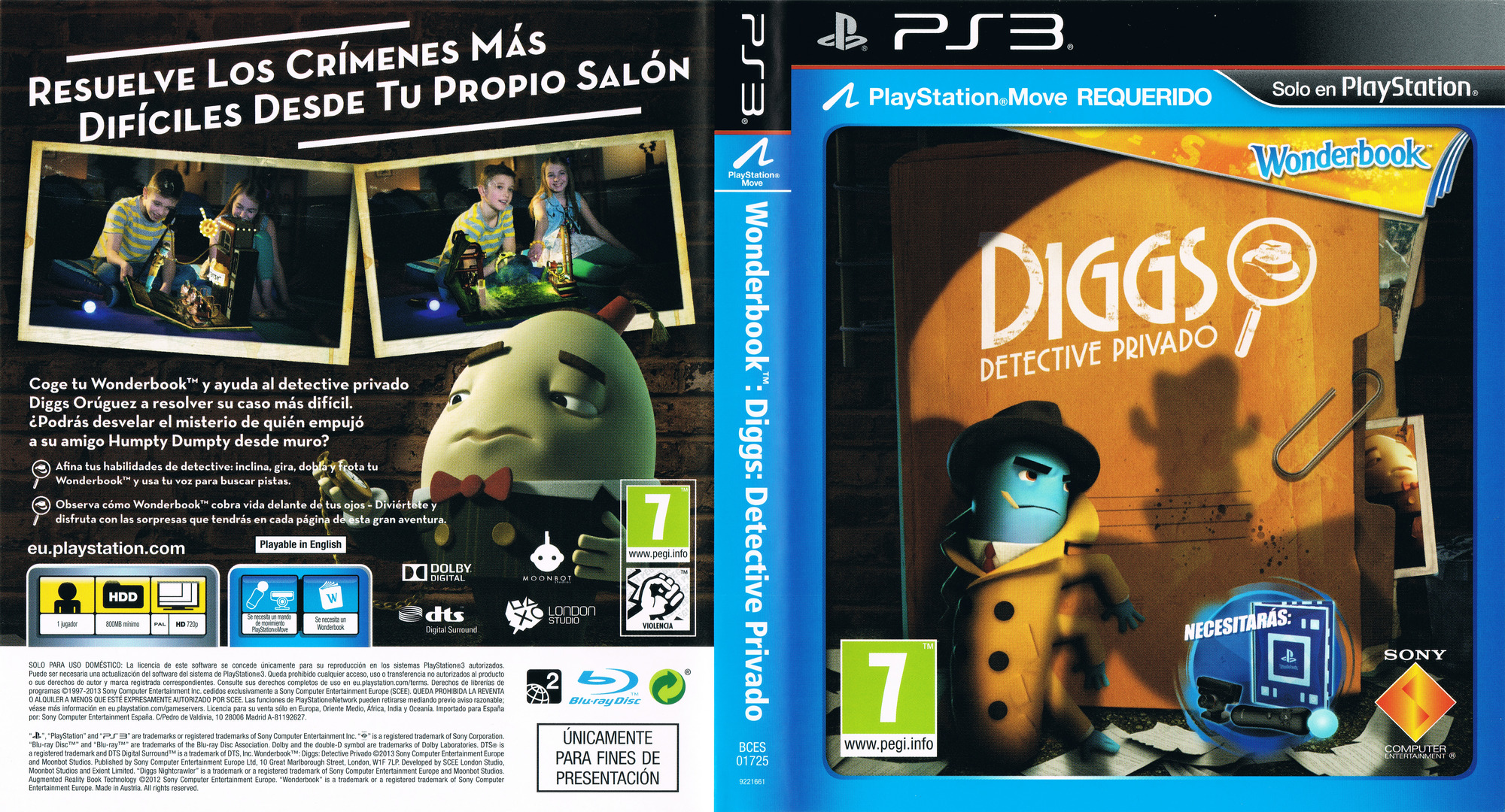Wonderbook Diggs: Detective Privado PS3 coverfullHQ (BCES01725)