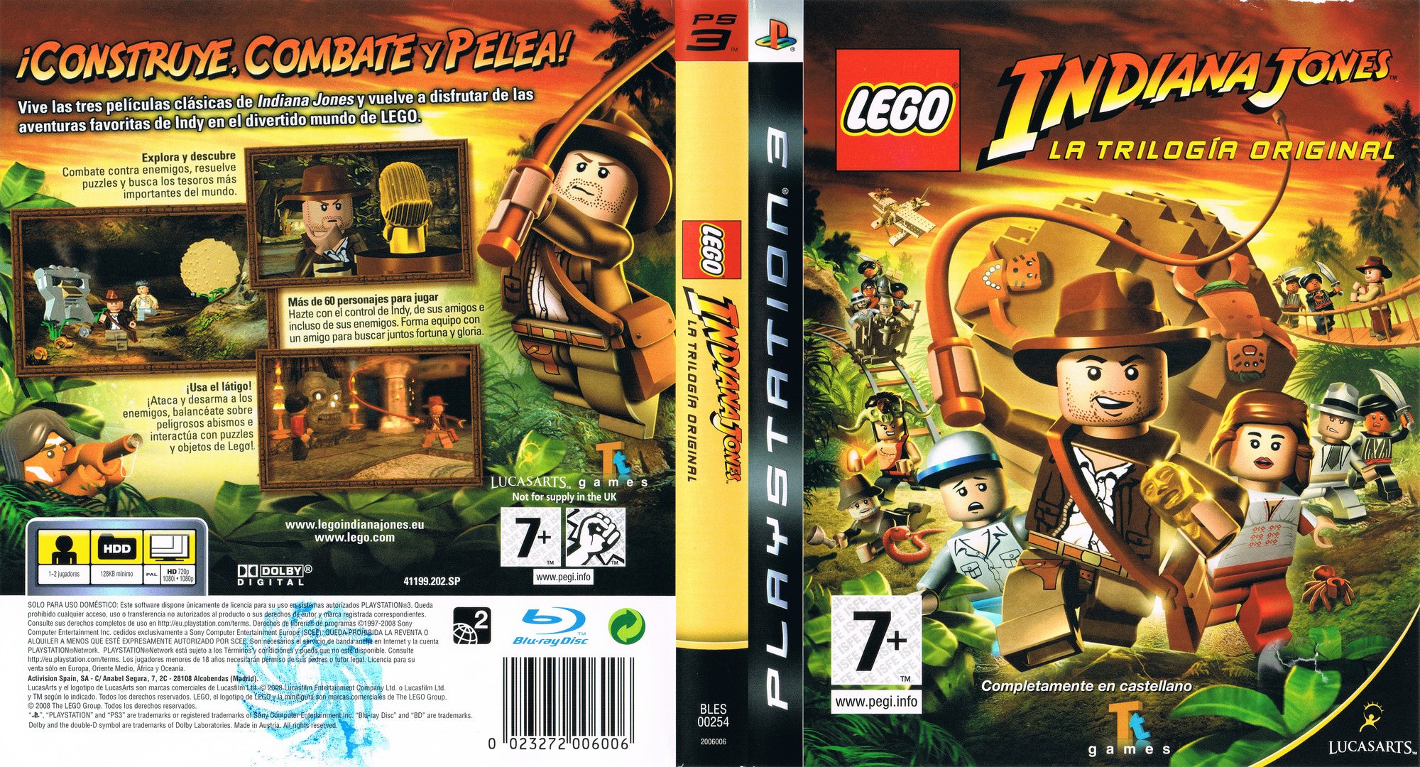 LEGO Indiana Jones: La Trilogía Original PS3 coverfullHQ (BLES00254)