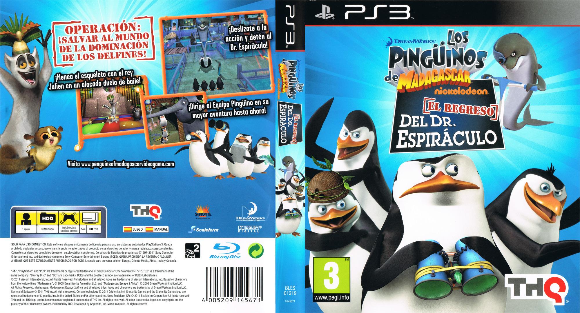 Los Pingüinos de Madagascar: El regreso del Dr. Espiráculo PS3 coverfullHQ (BLES01219)