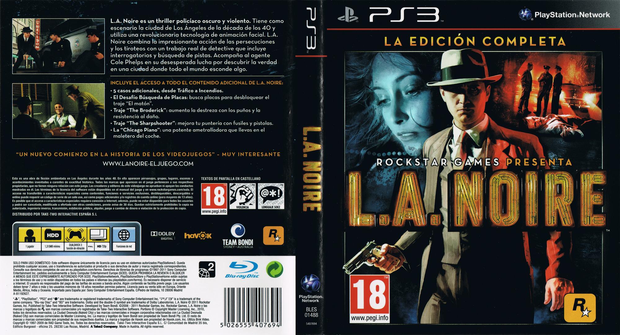 L.A. Noire: La Edición Completa PS3 coverfullHQ (BLES01488)