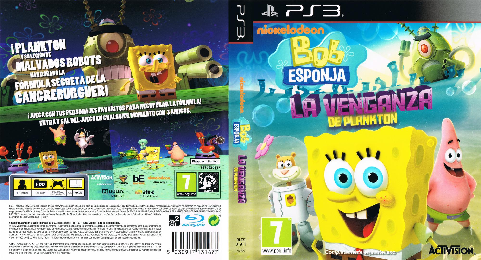 Bob Esponja: La Venganza de Plankton PS3 coverfullHQ (BLES01911)