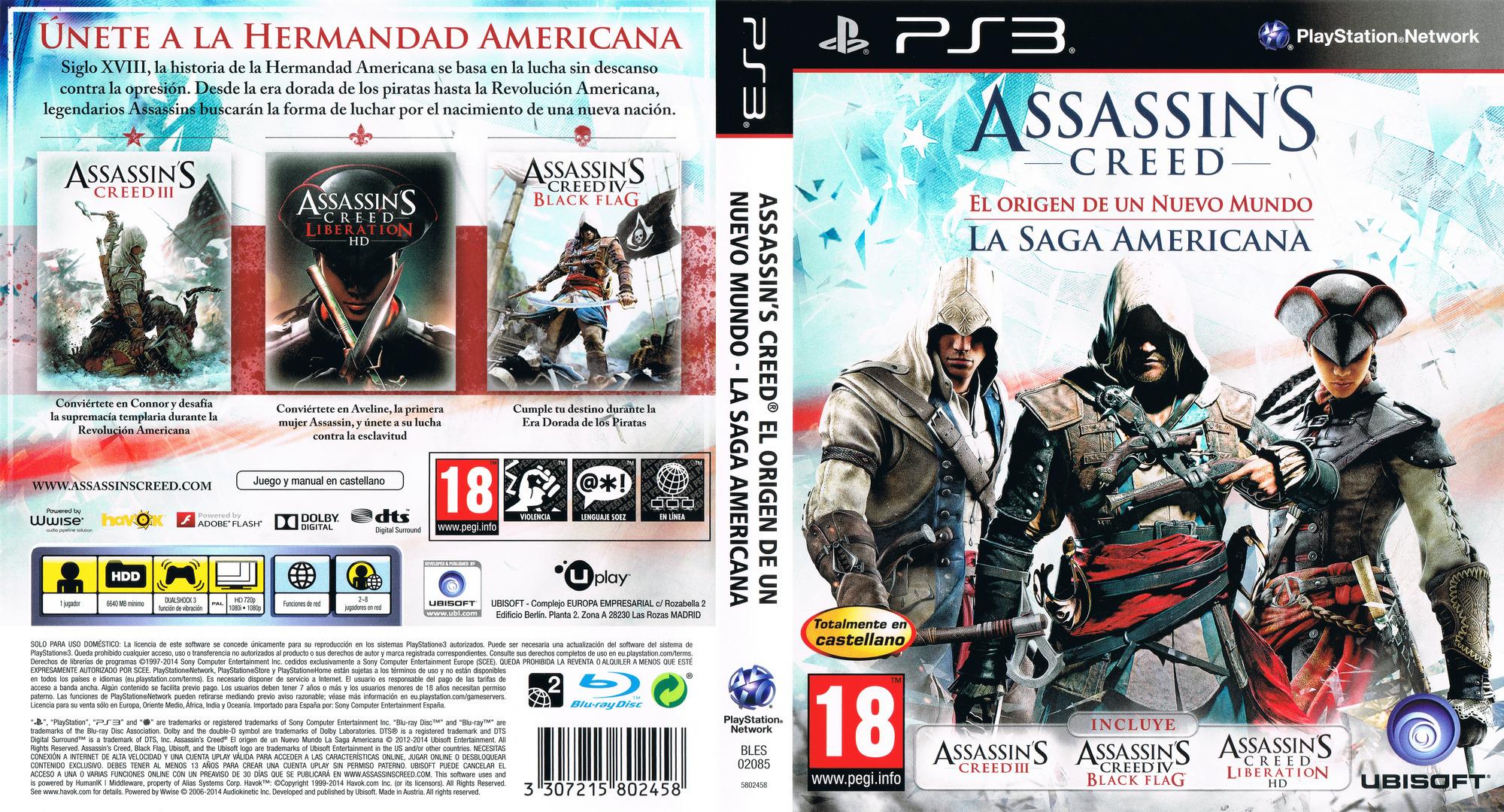 Assassin's Creed: El origen de un nuevo mundo - La Saga Americana PS3 coverfullHQ (BLES02085)
