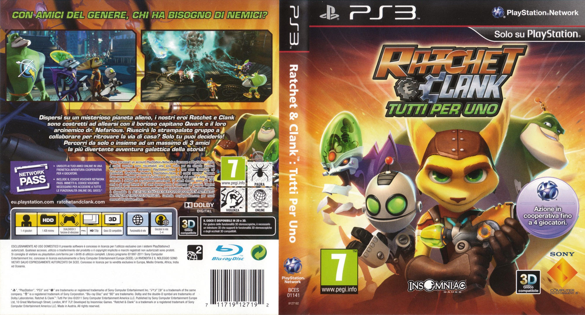 Ratchet & Clank: Tutti per uno PS3 coverfullHQ (BCES01141)