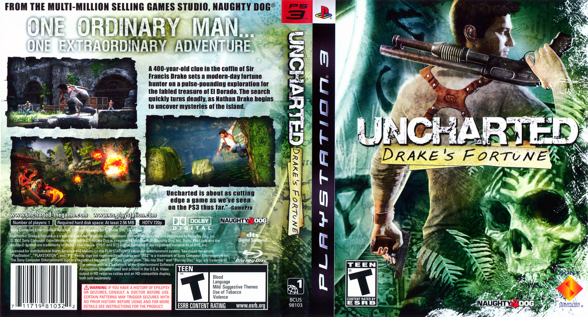 Uncharted: Drake's Fortune PS3 coverfullHQ (BCUS98103)