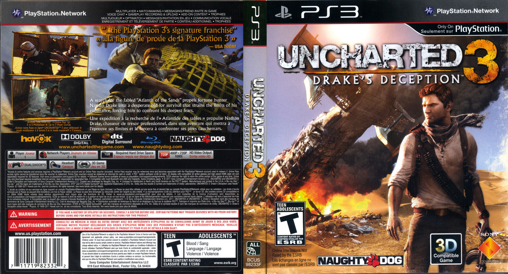 Uncharted 3: Drake's Deception PS3 coverfullHQ (BCUS98233)