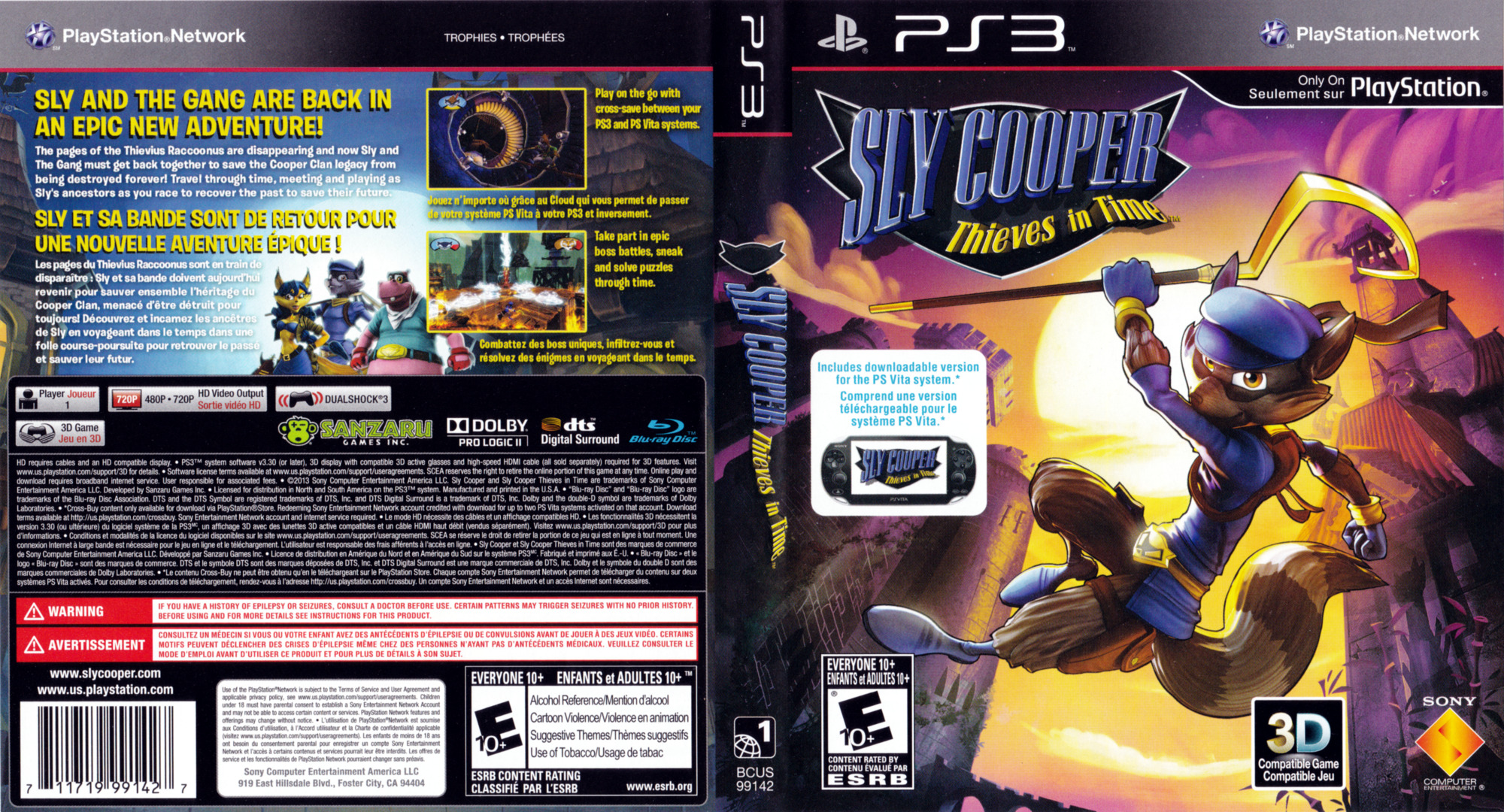 Sly Cooper: Thieves in Time PS3 coverfullHQ (BCUS99142)