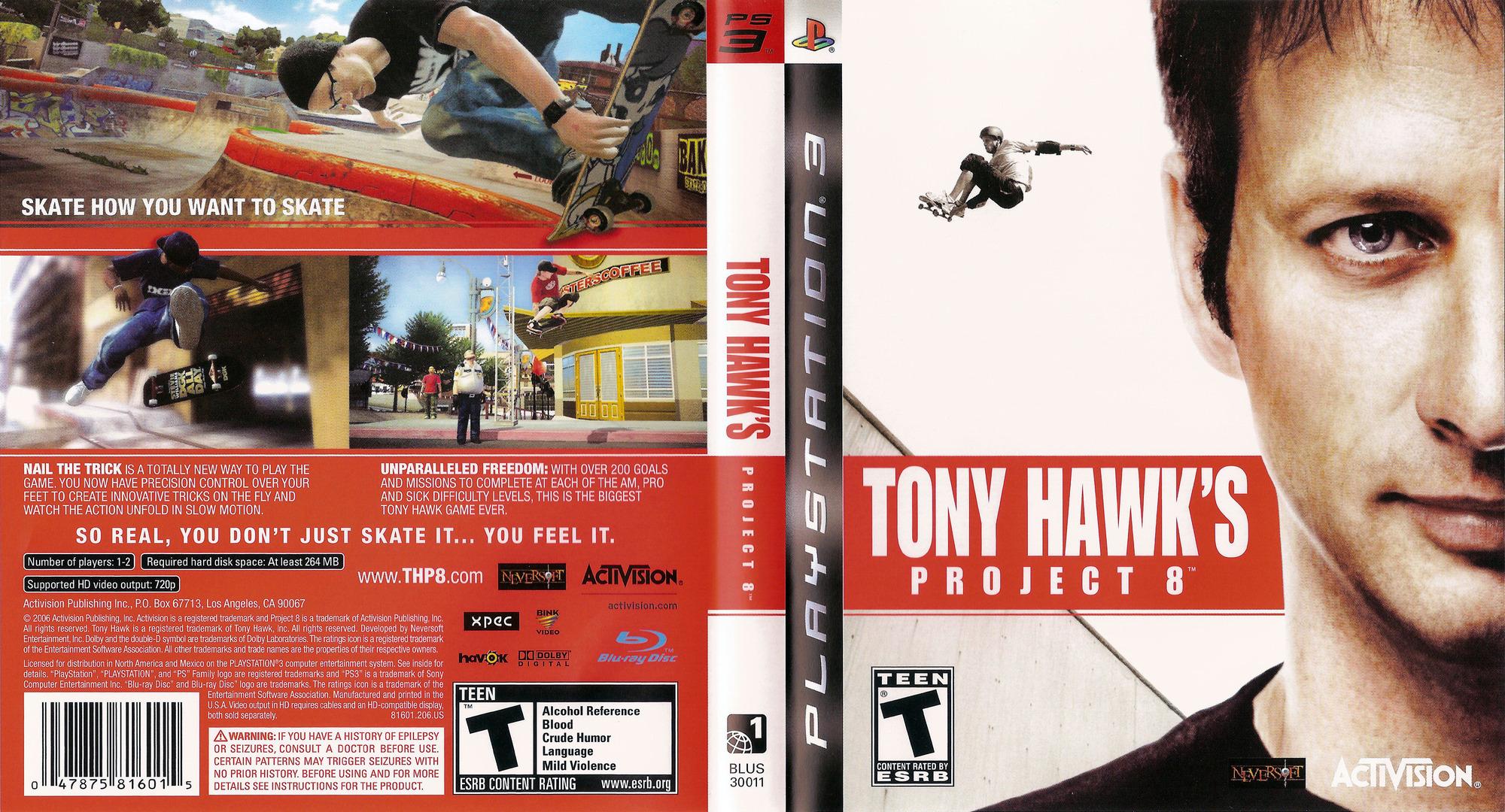 Tony Hawk's Project 8 PS3 coverfullHQ (BLUS30011)