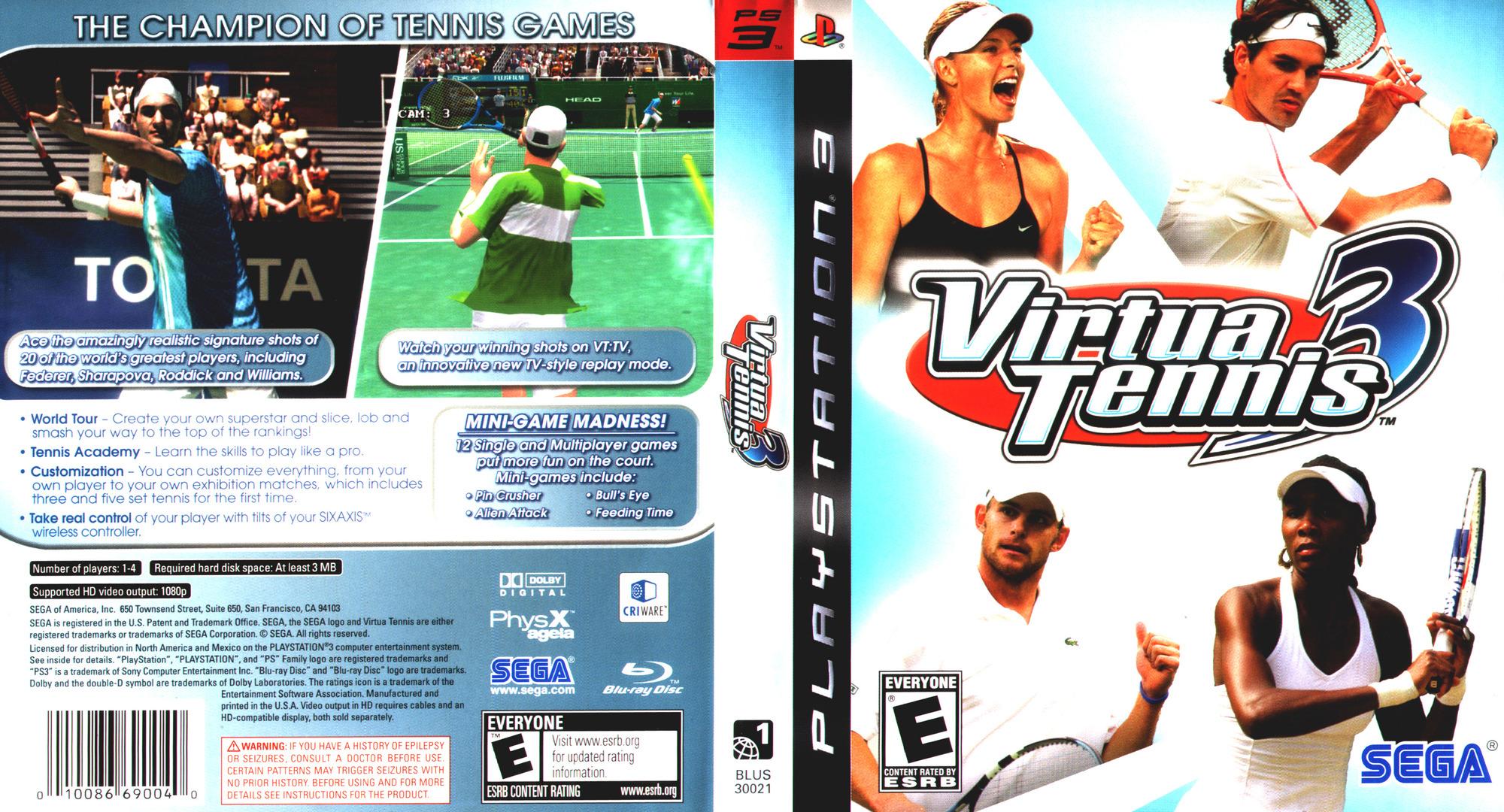 Virtua Tennis 3 PS3 coverfullHQ (BLUS30021)