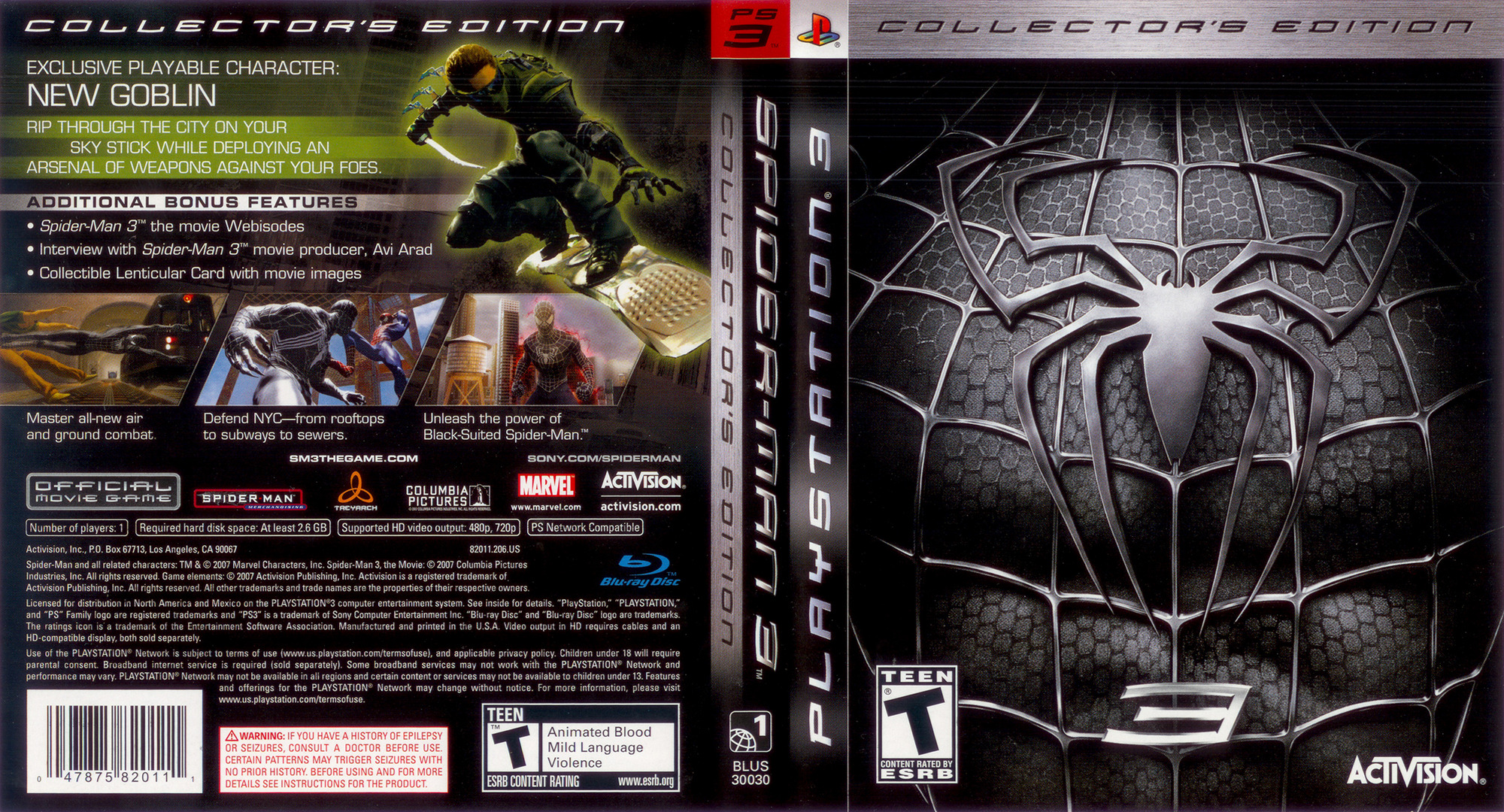 Spider-Man 3 (Collector's Edition) PS3 coverfullHQ (BLUS30030)
