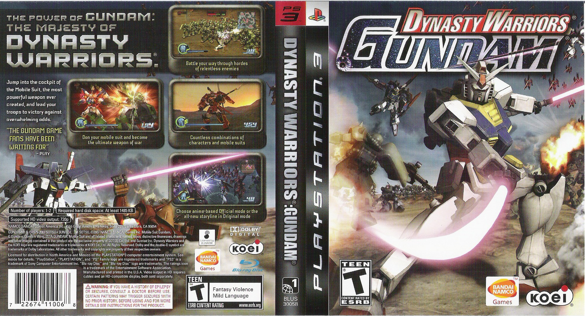 Dynasty Warriors: Gundam PS3 coverfullHQ (BLUS30058)