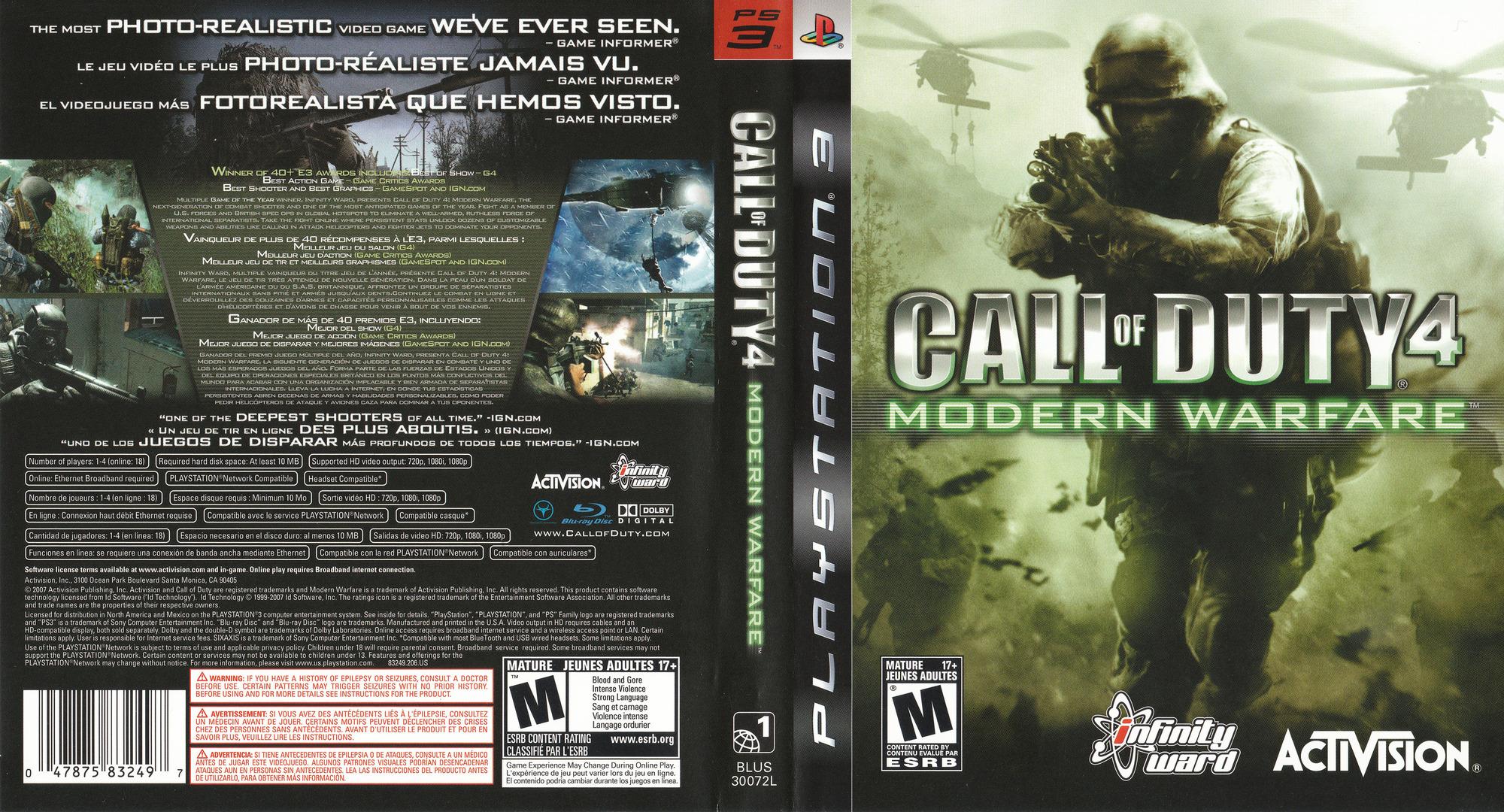 Call of Duty 4: Modern Warfare PS3 coverfullHQ (BLUS30072)