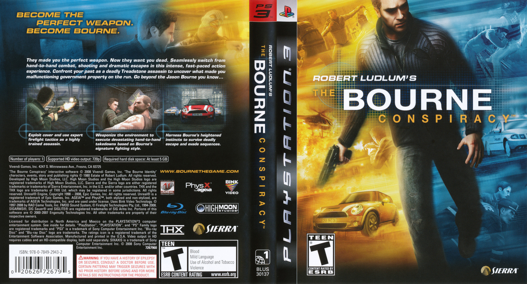 Robert Ludlum's The Bourne Conspiracy PS3 coverfullHQ (BLUS30137)