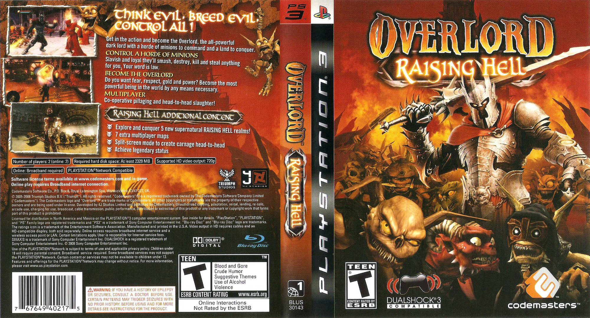 Overlord: Raising Hell PS3 coverfullHQ (BLUS30143)