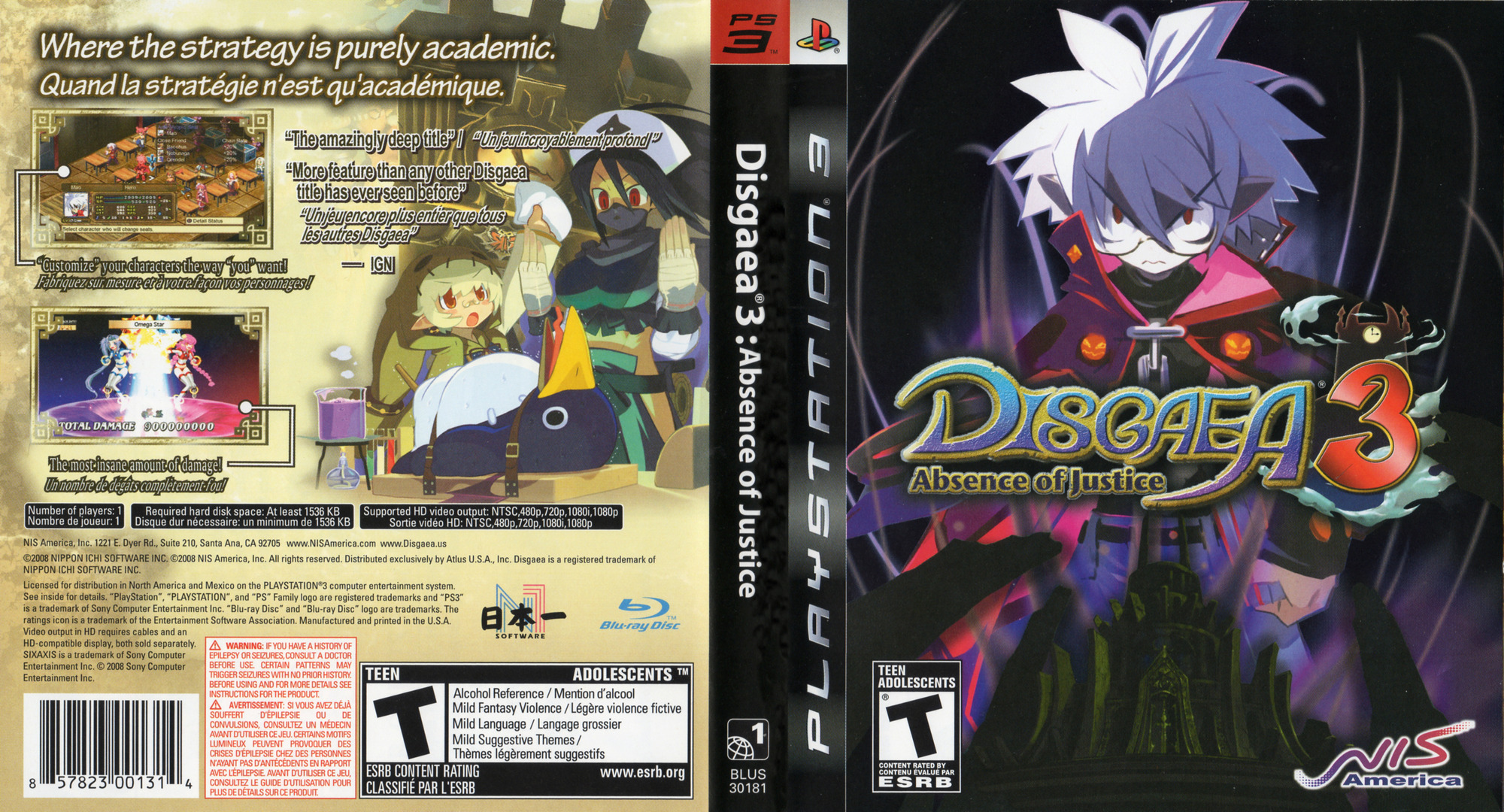 Disgaea 3: Absence of Justice PS3 coverfullHQ (BLUS30181)