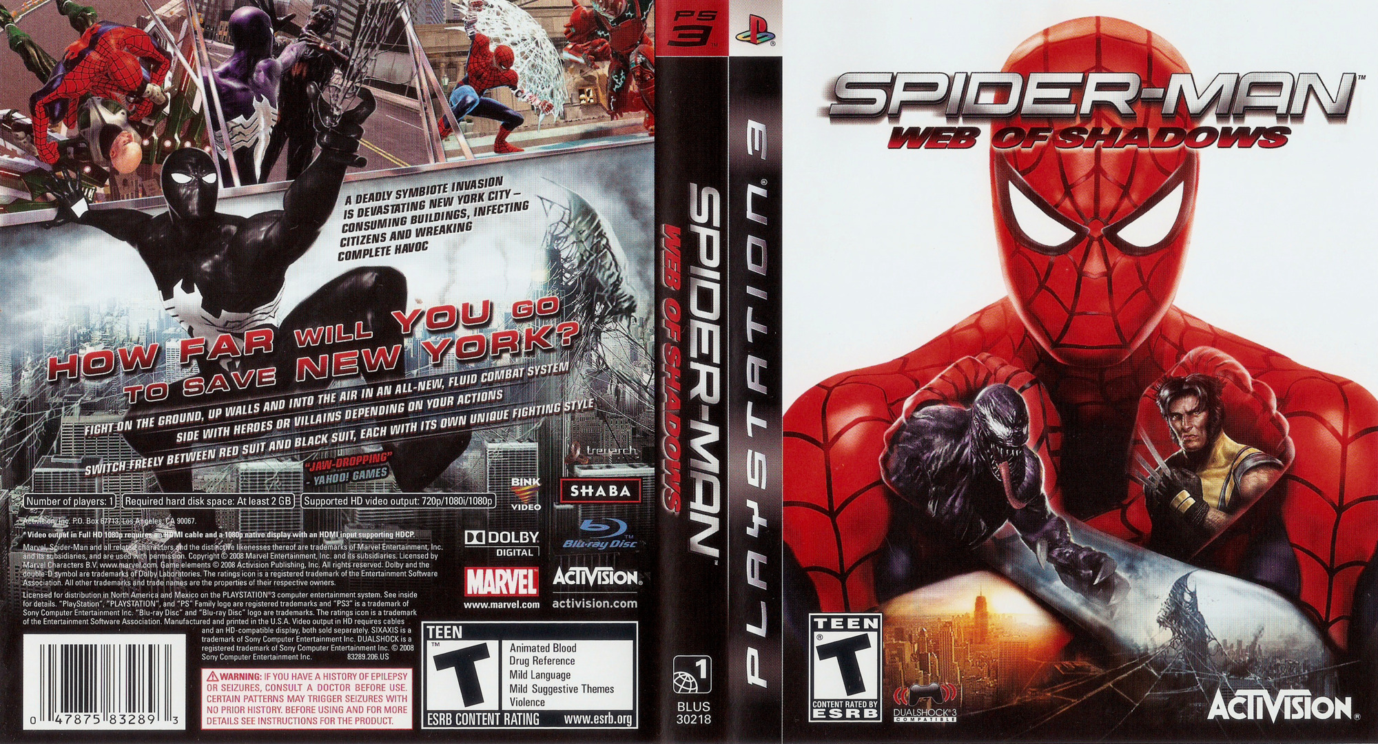 Spider-Man: Web of Shadows PS3 coverfullHQ (BLUS30218)