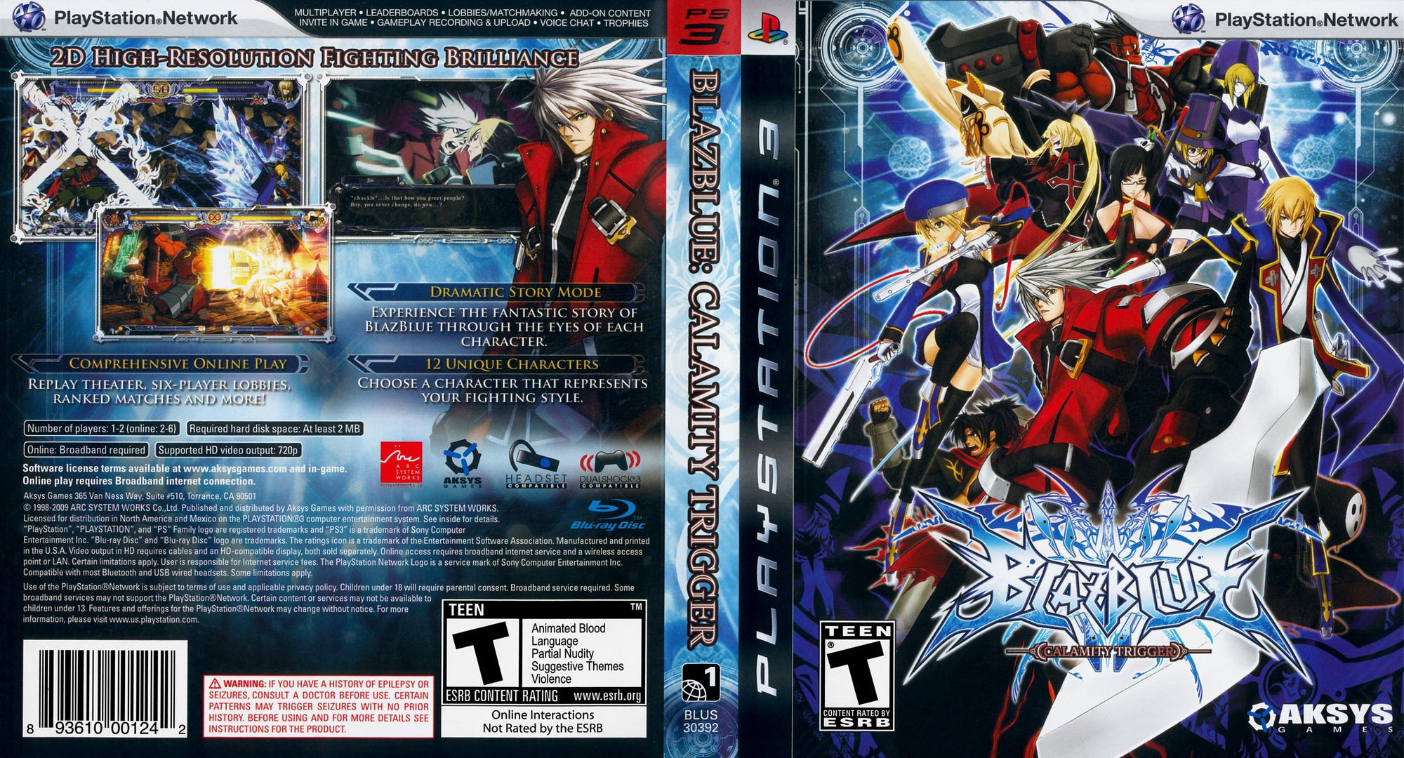 BlazBlue: Calamity Trigger PS3 coverfullHQ (BLUS30392)