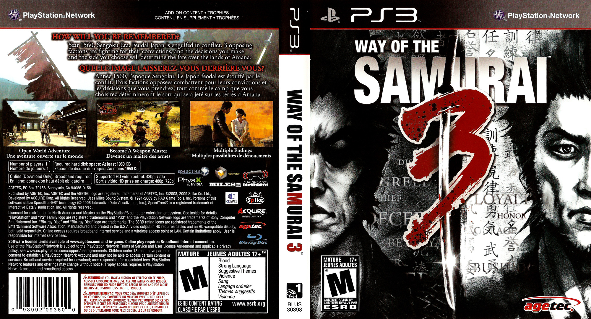 Way of the Samurai 3 PS3 coverfullHQ (BLUS30398)