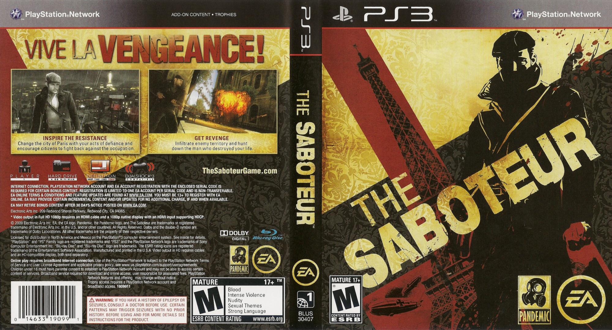 Saboteur PS3 coverfullHQ (BLUS30407)