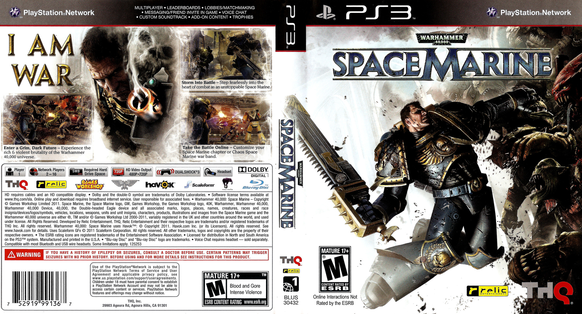 Warhammer 40000: Space Marine PS3 coverfullHQ (BLUS30432)