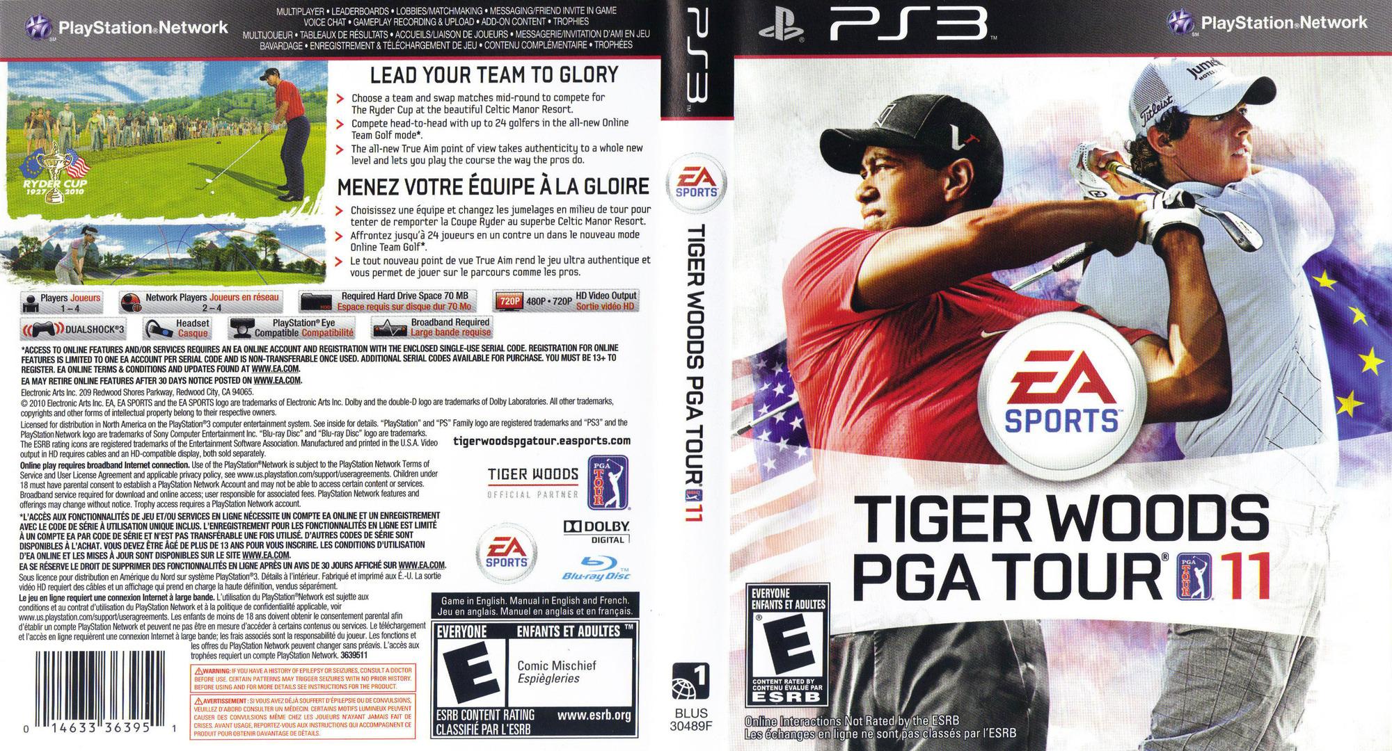 Tiger Woods PGA Tour '11 PS3 coverfullHQ (BLUS30489)