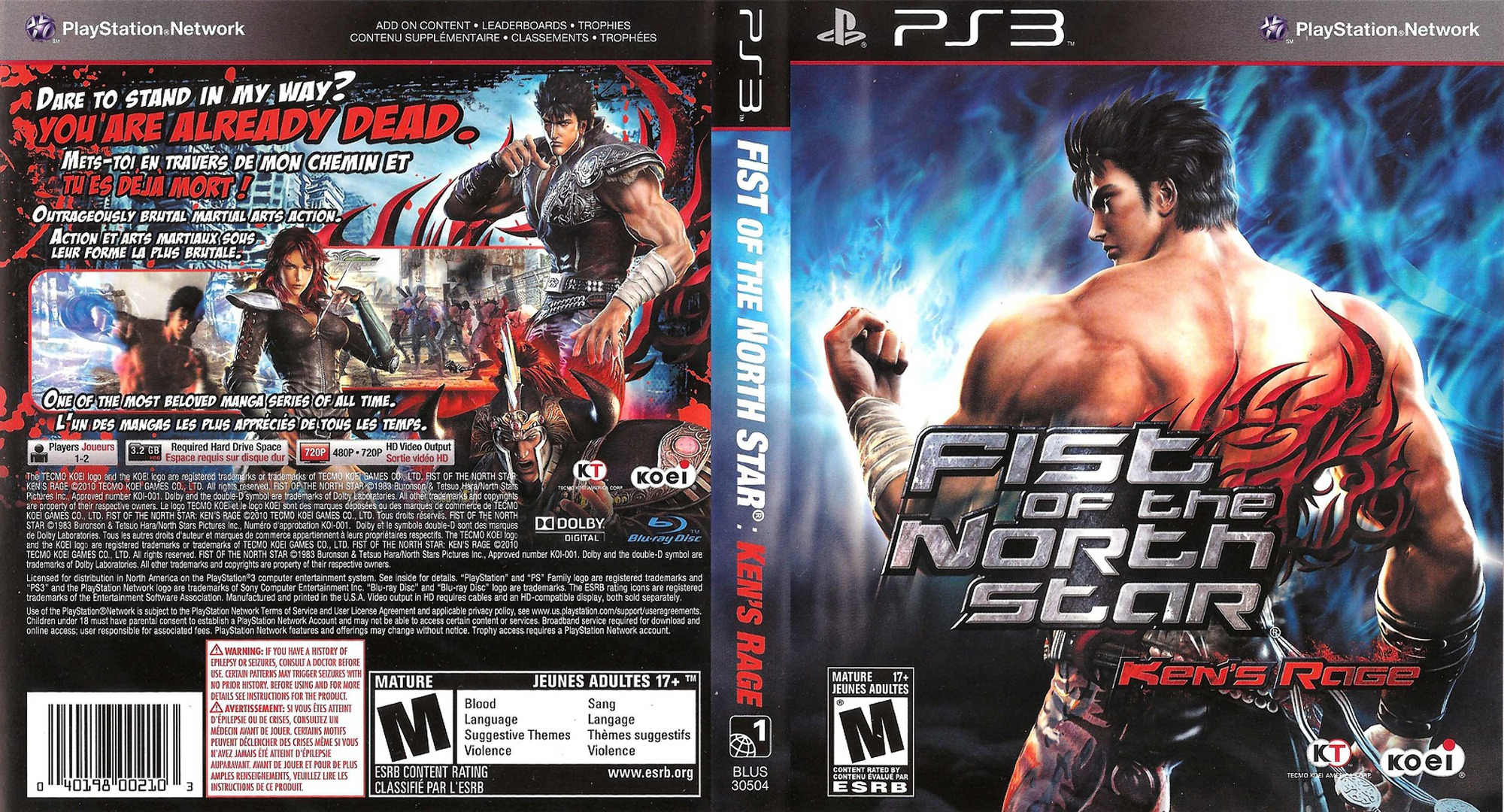 Fist of the North Star: Ken's Rage PS3 coverfullHQ (BLUS30504)