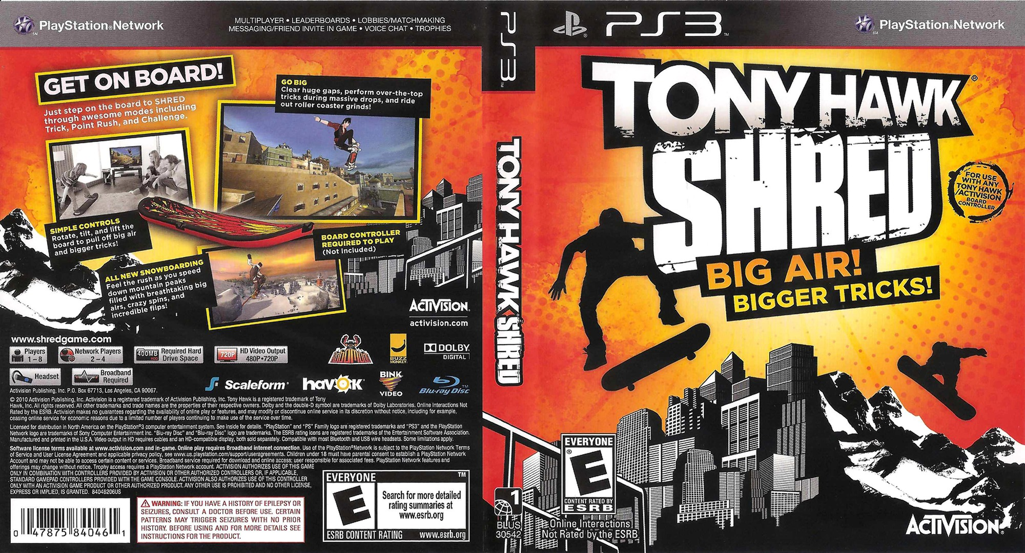 Tony Hawk: Shred PS3 coverfullHQ (BLUS30542)