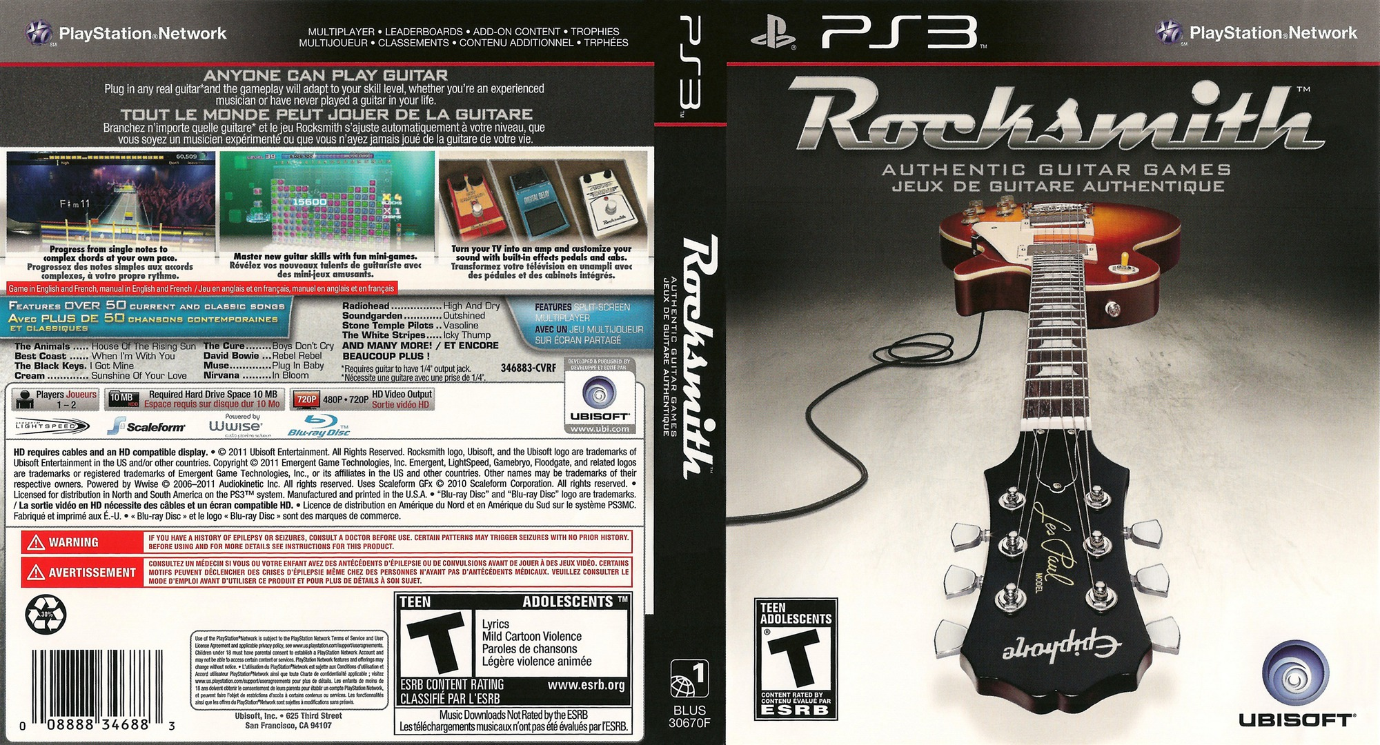 Rocksmith Authentic Guitar Games PS3 coverfullHQ (BLUS30670)