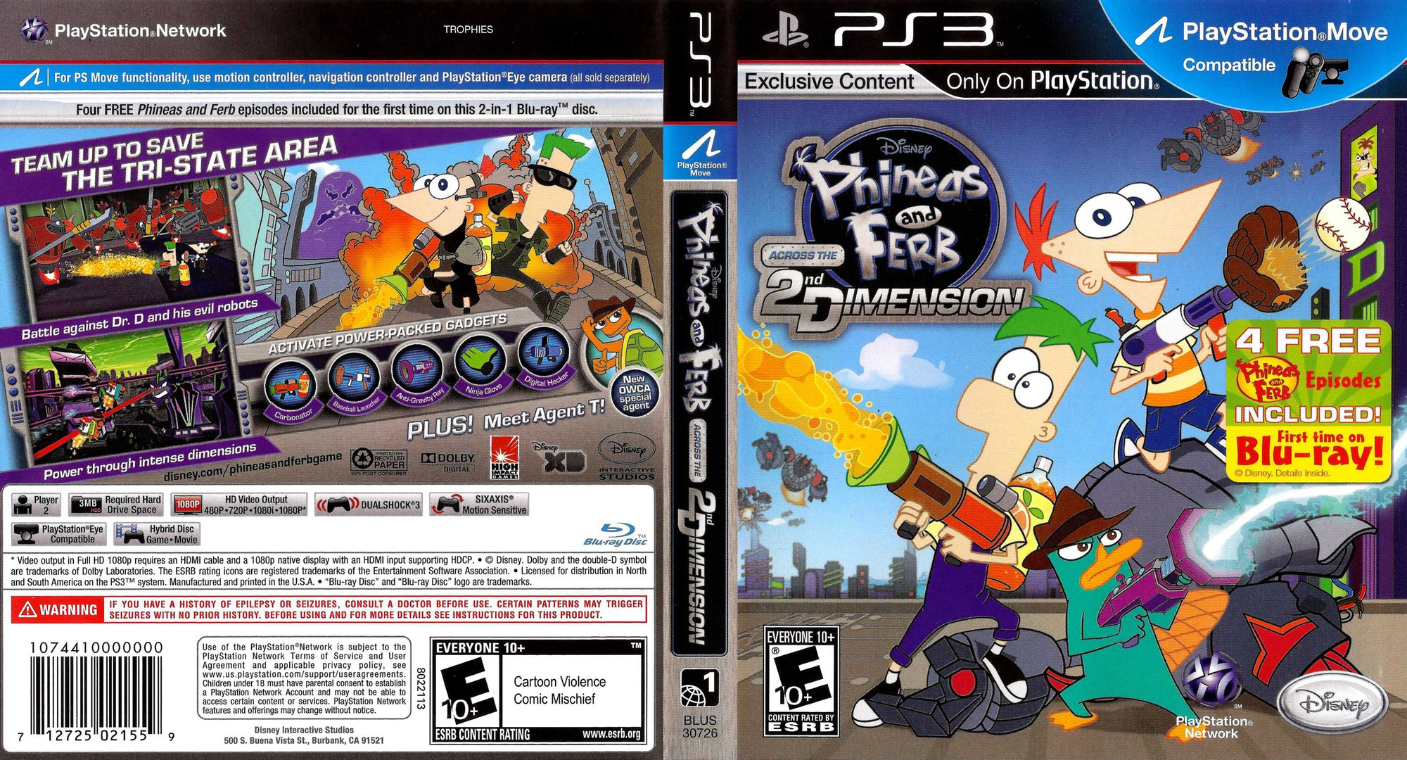 Phineas and Ferb: Across the 2nd Dimension PS3 coverfullHQ (BLUS30726)