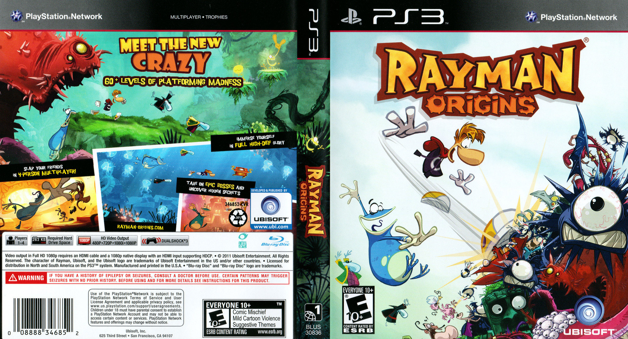 Rayman Origins PS3 coverfullHQ (BLUS30836)