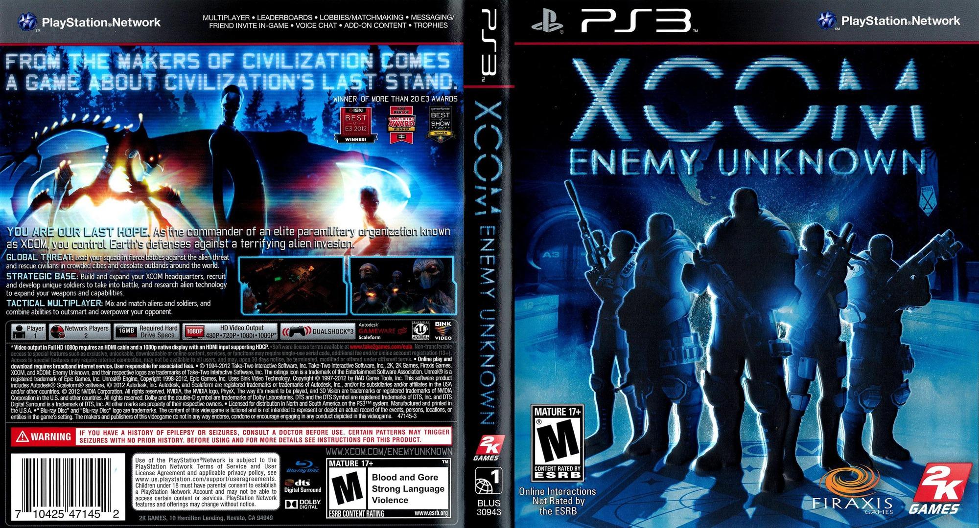 XCOM: Enemy Unknown PS3 coverfullHQ (BLUS30943)