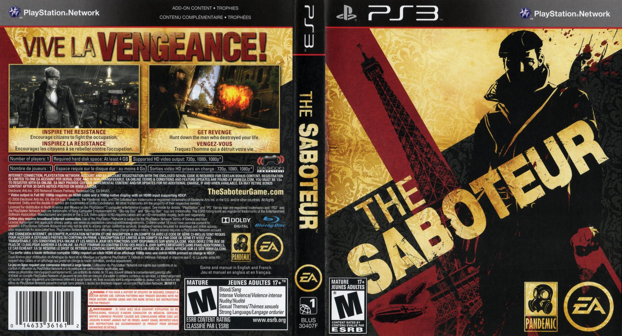 Saboteur PS3 coverfullHQ2 (BLUS30407)