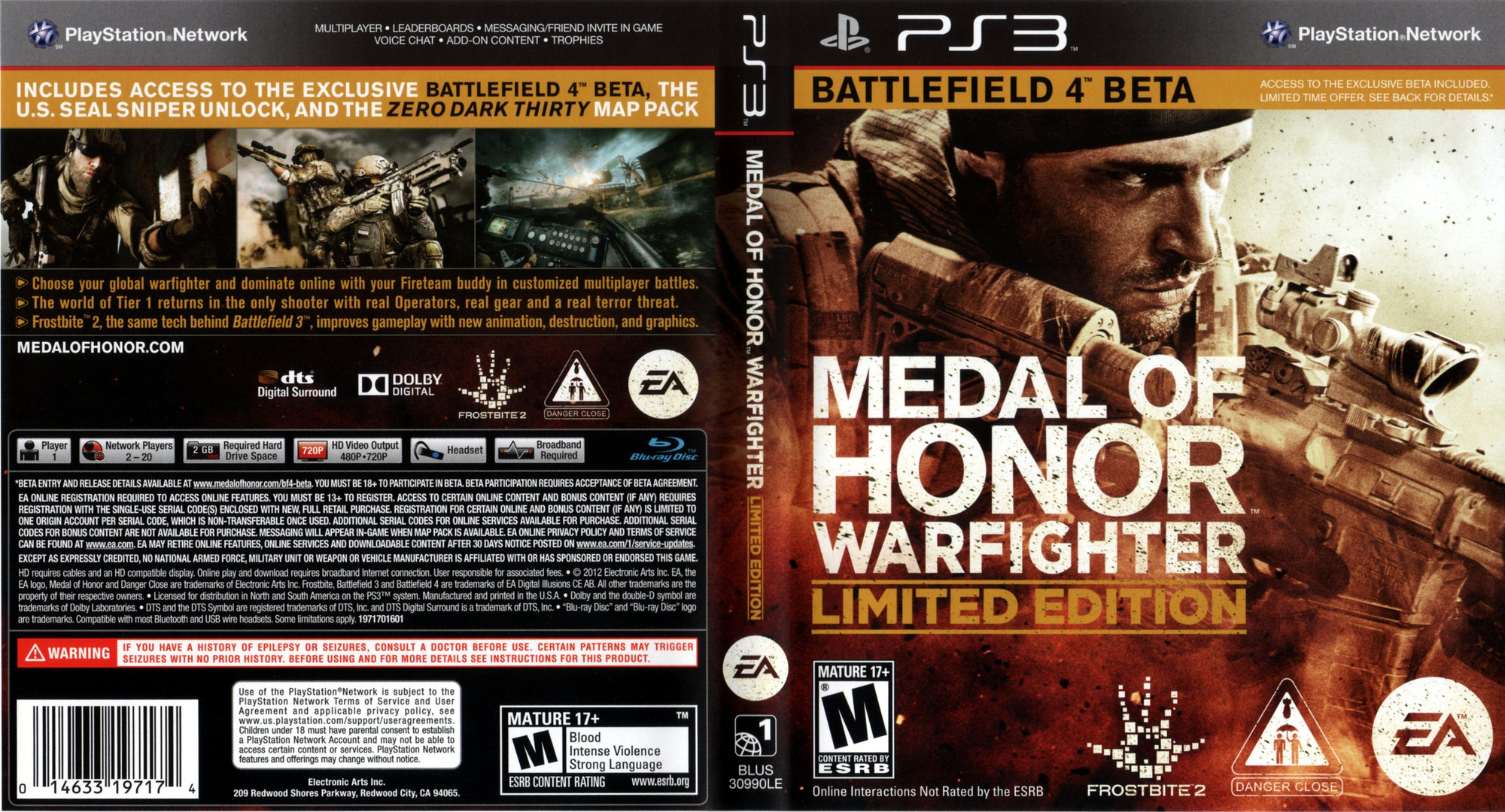 Medal of Honor: Warfighter PS3 coverfullHQB (BLUS30990)