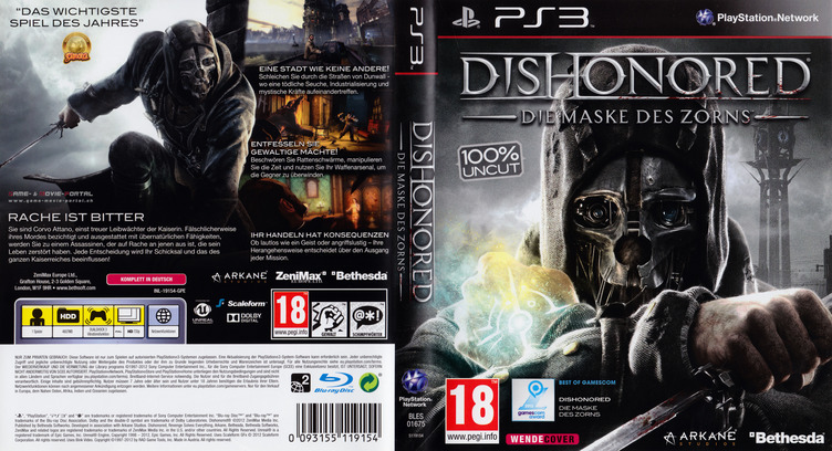 Dishonored: Die Maske des Zorns PS3 coverfullM (BLES01675)