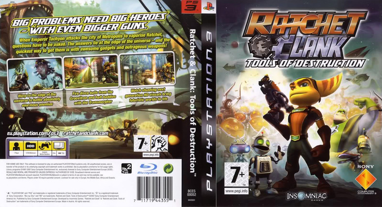 Ratchet & Clank: Tools of Destruction PS3 coverfullM (BCES00052)