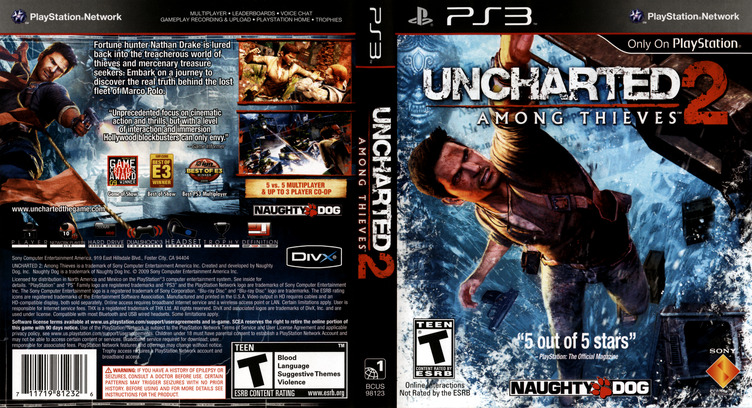 Uncharted 2: Among Thieves PS3 coverfullM (BCUS98123)