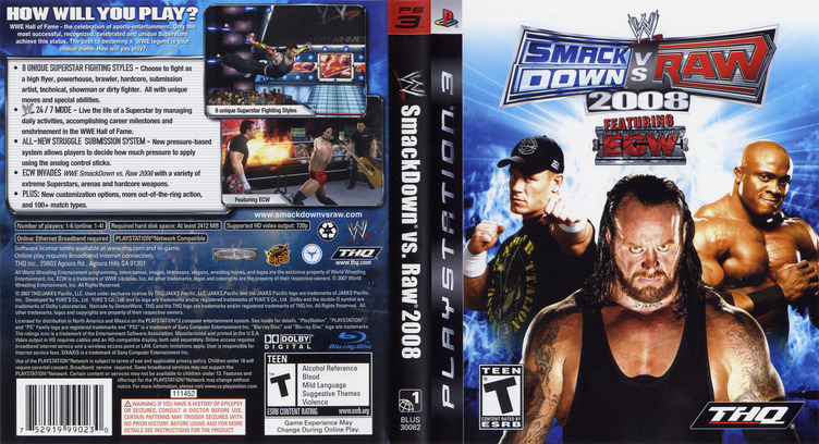 WWE SmackDown vs. Raw 2008 PS3 coverfullM (BLUS30082)