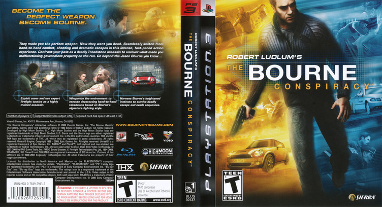 Robert Ludlum's The Bourne Conspiracy PS3 coverfullM (BLUS30137)