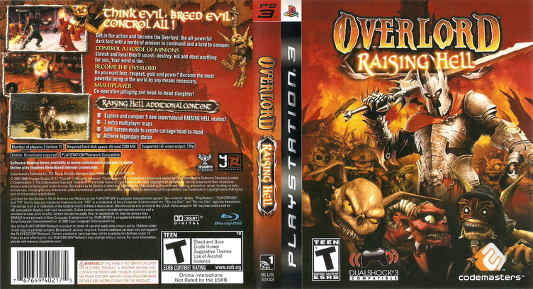 Overlord: Raising Hell PS3 coverfullM (BLUS30143)