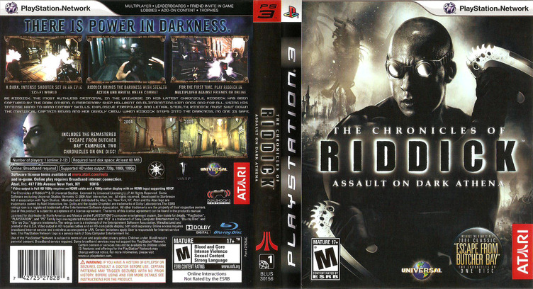 The Chronicles of Riddick: Assault on Dark Athena PS3 coverfullM (BLUS30156)