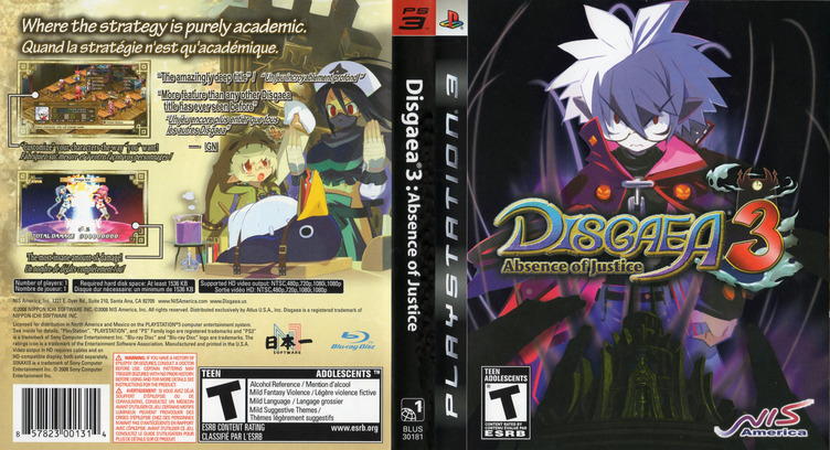Disgaea 3: Absence of Justice PS3 coverfullM (BLUS30181)