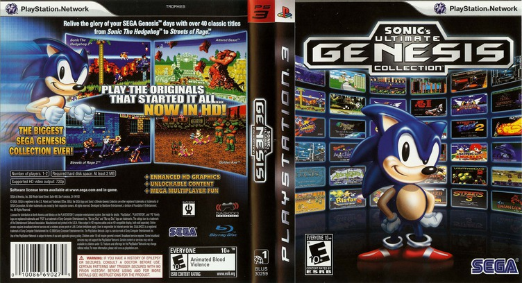 Sonic's Ultimate Genesis Collection PS3 coverfullM (BLUS30259)