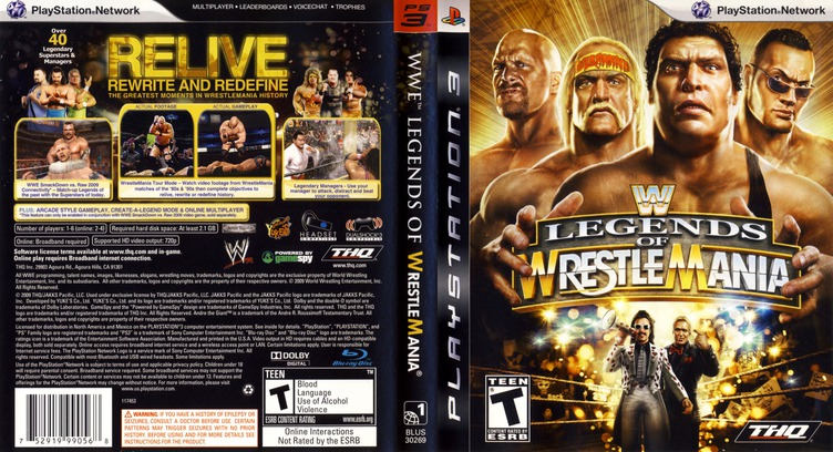 WWE Legends of Wrestlemania PS3 coverfullM (BLUS30269)