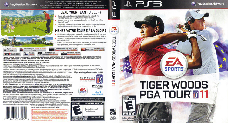 Tiger Woods PGA Tour '11 PS3 coverfullM (BLUS30489)