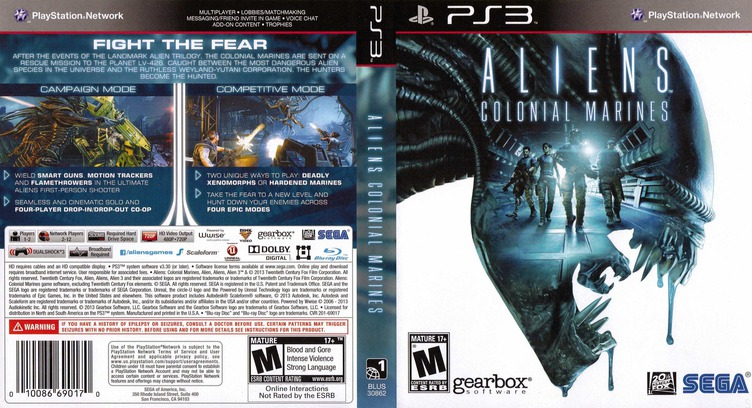 Aliens: Colonial Marines PS3 coverfullM (BLUS30862)