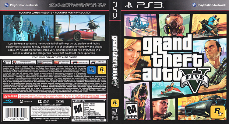 Grand Theft Auto V PS3 coverfullM (BLUS31156)