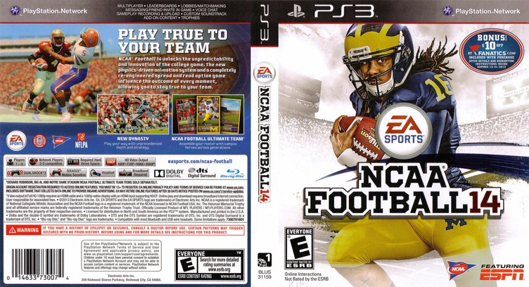 NCAA Football 14 PS3 coverfullM (BLUS31159)