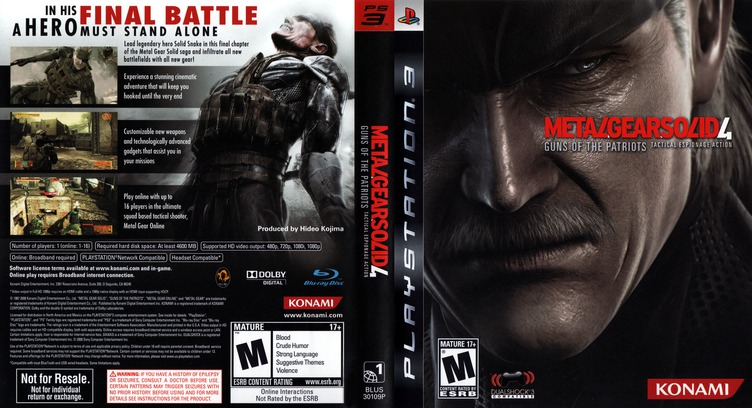 Metal Gear Solid 4: Guns of the Patriots PS3 coverfullMB (BLUS30109)