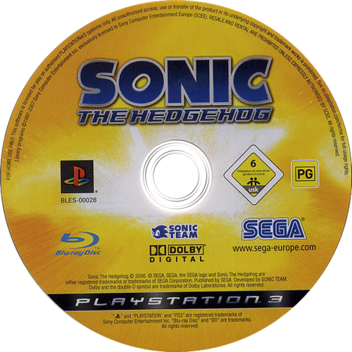Sonic the Hedgehog PS3 discM (BLES00028)